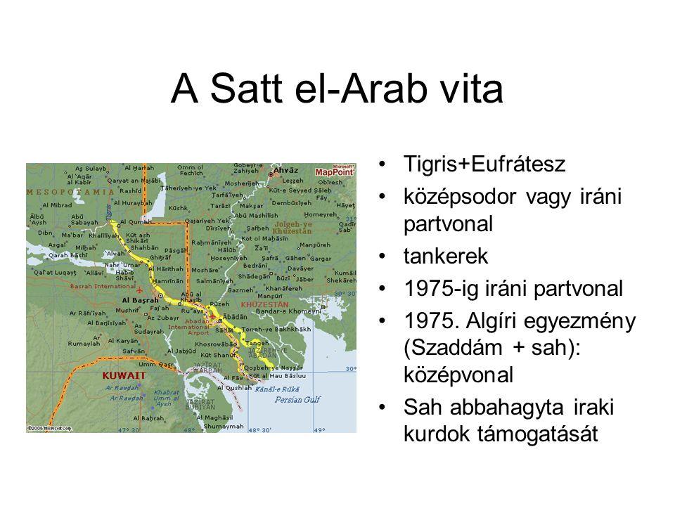A Satt el-Arab vita Tigris+Eufrátesz középsodor vagy iráni partvonal
