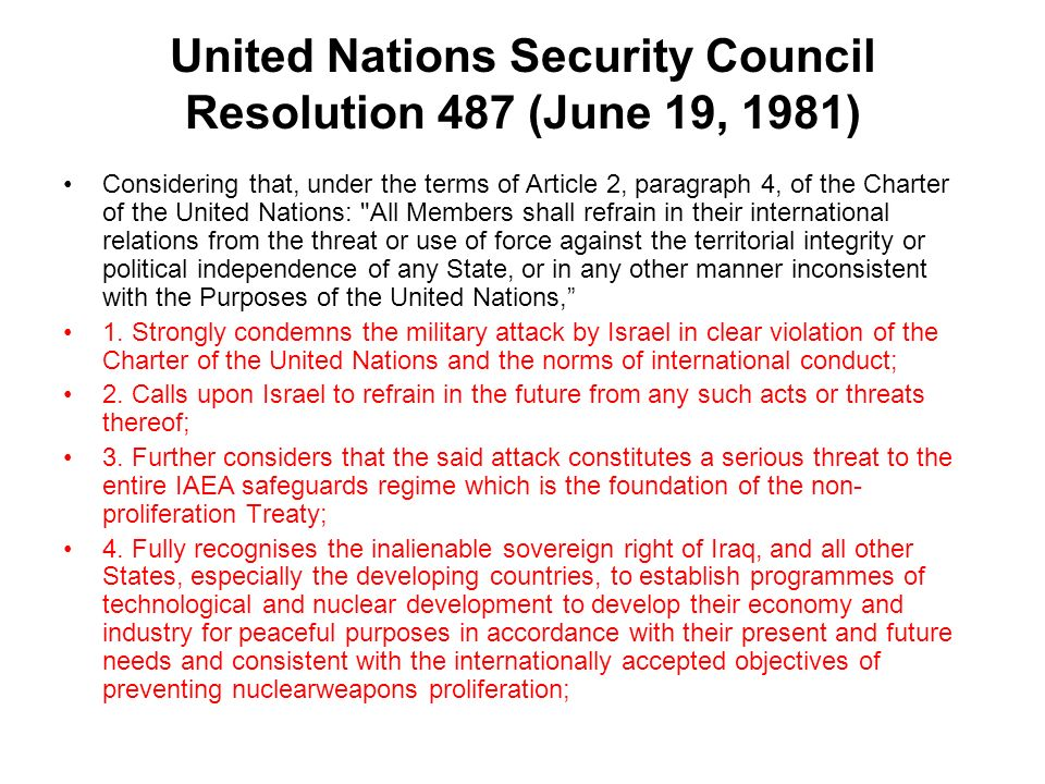 United Nations Security Council Resolution 487 (June 19, 1981)