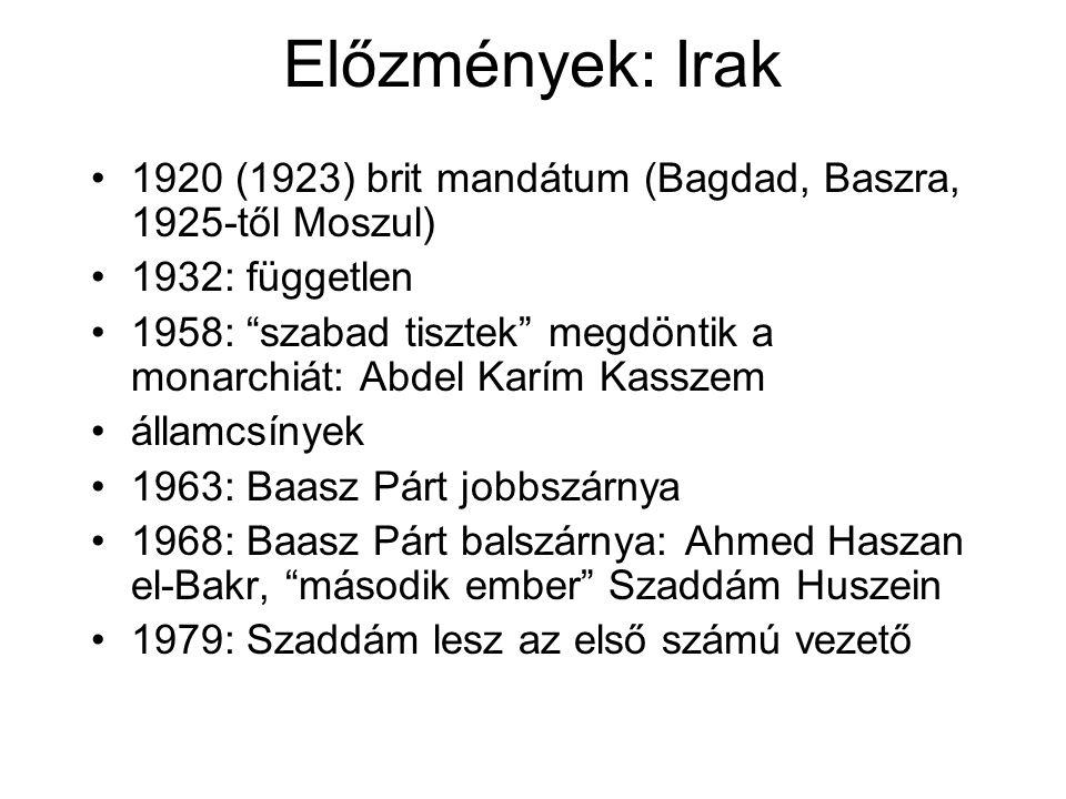 Előzmények: Irak 1920 (1923) brit mandátum (Bagdad, Baszra, 1925-től Moszul) 1932: független.