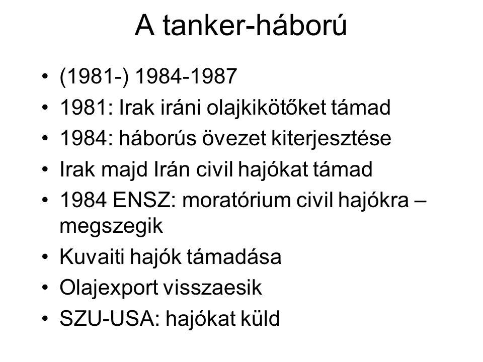 A tanker-háború (1981-) 1984-1987 1981: Irak iráni olajkikötőket támad