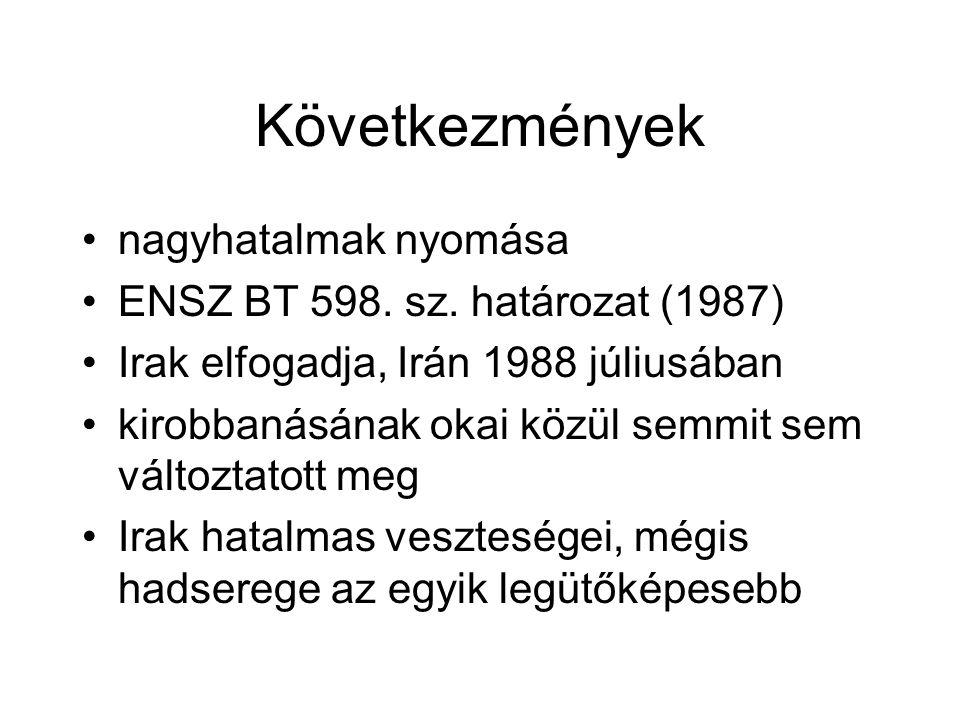 Következmények nagyhatalmak nyomása ENSZ BT 598. sz. határozat (1987)