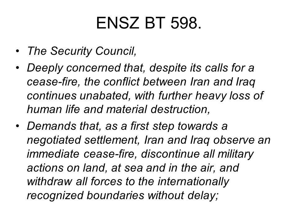ENSZ BT 598. The Security Council,