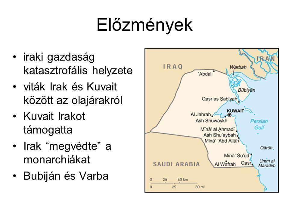 Előzmények iraki gazdaság katasztrofális helyzete