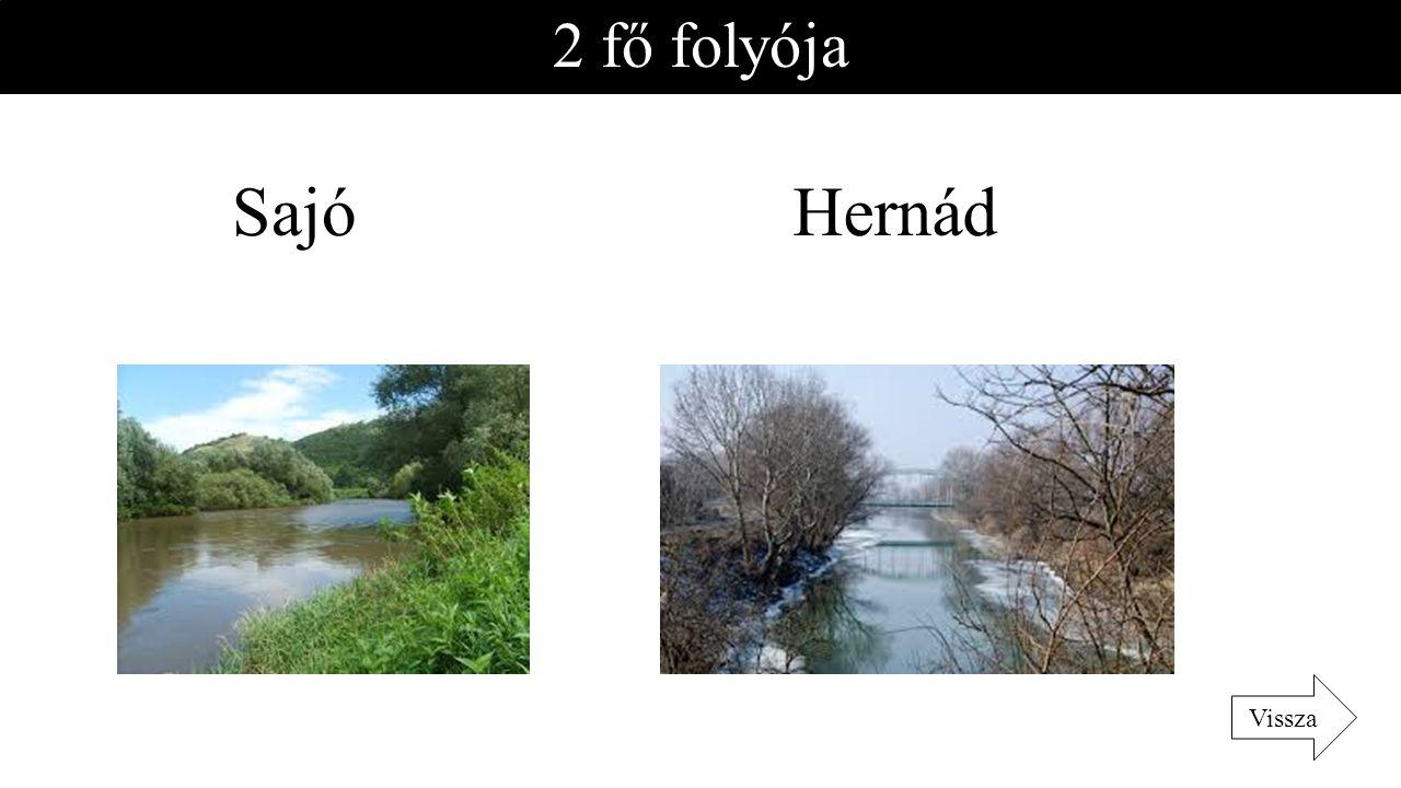 2 fő folyója Sajó Hernád Vissza