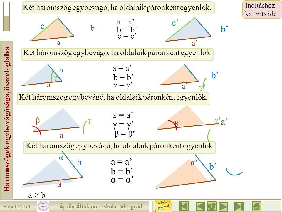 Háromszögek egybevágósága, összefoglalva