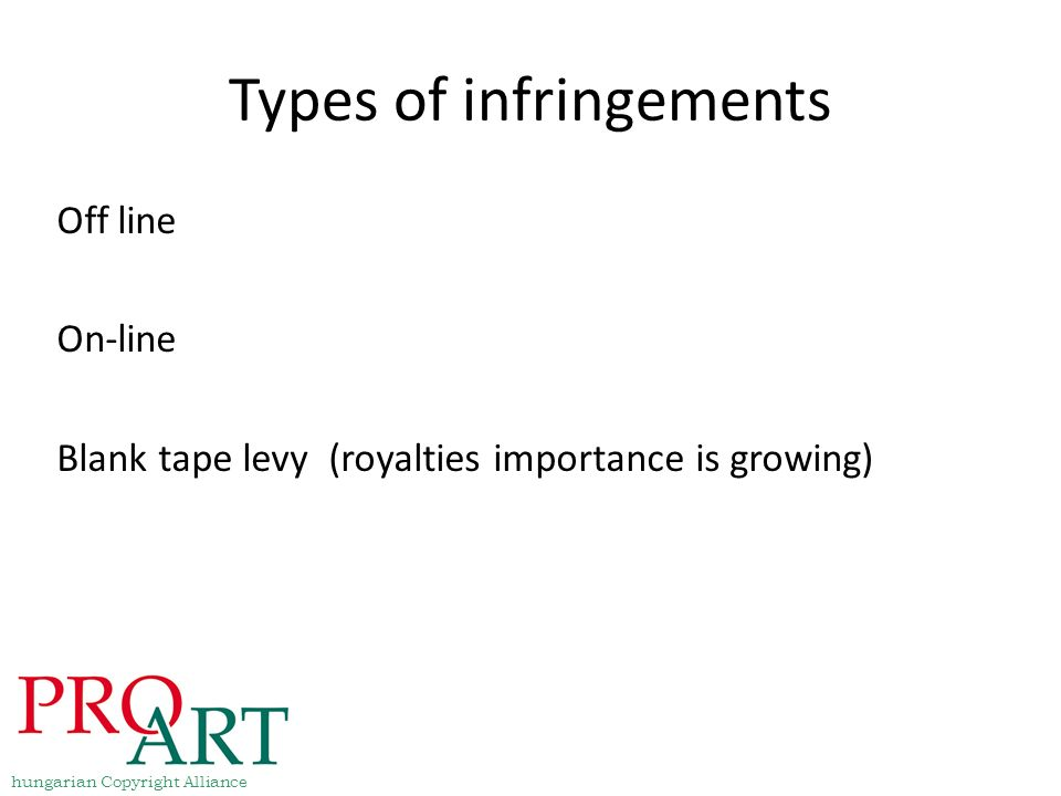 Types of infringements