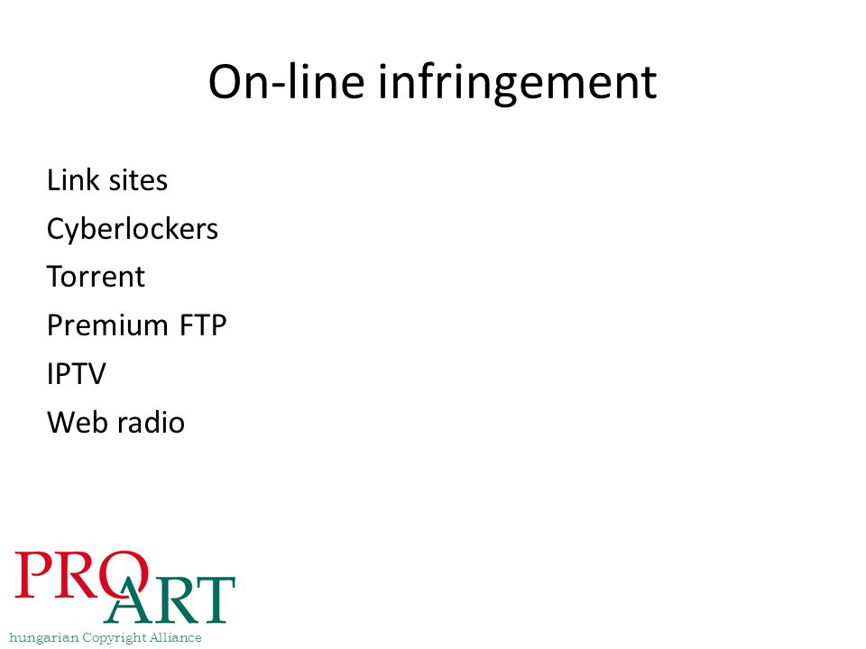 On-line infringement Link sites Cyberlockers Torrent Premium FTP IPTV