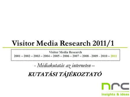 Visitor Media Research 2011/1 Visitor Media Research 2001 – 2002 – 2003 – 2004 – 2005 – 2006 – 2007 – 2008 – 2009 – 2010 – 2011 - Médiakutatás az interneten.