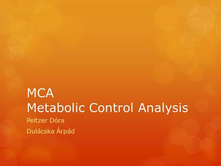 MCA Metabolic Control Analysis