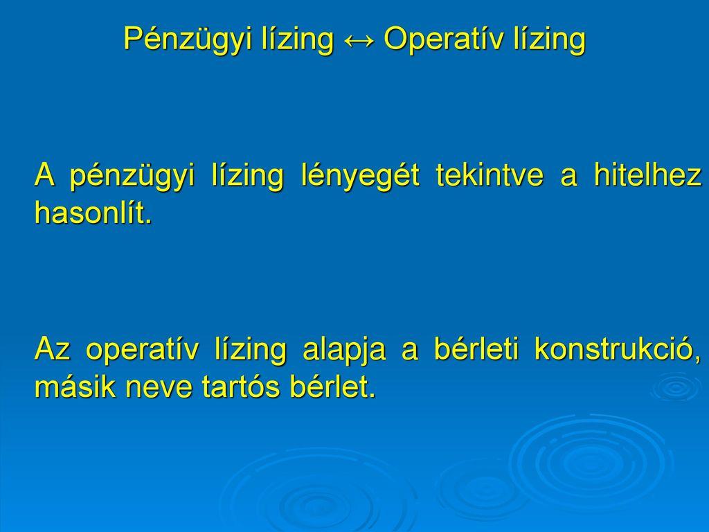 Operatív lízing fogalma
