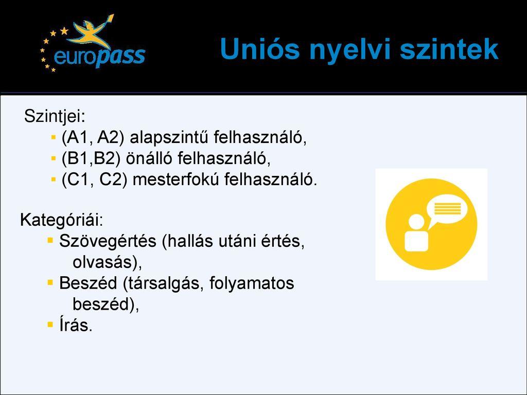 europass önéletrajz nyelvi szintek A szaktudás dokumentálása – Europass   ppt letölteni europass önéletrajz nyelvi szintek