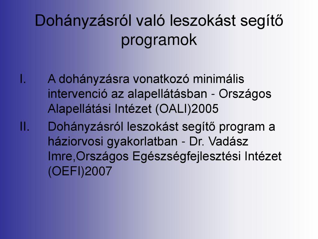 dohányzásról való leszokást segítő programok