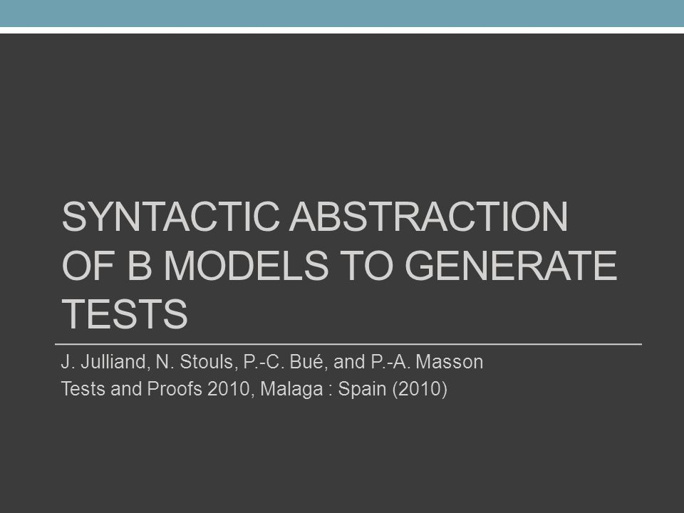 Syntactic Abstraction of B Models to Generate Tests