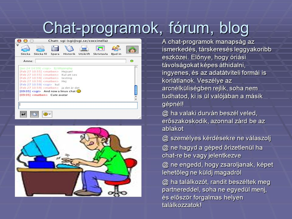 Chat-programok, fórum, blog