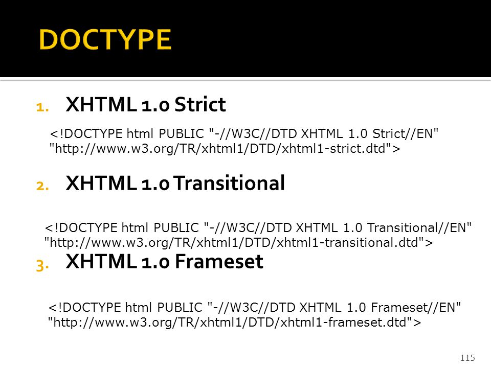 DOCTYPE XHTML 1.0 Strict XHTML 1.0 Transitional XHTML 1.0 Frameset