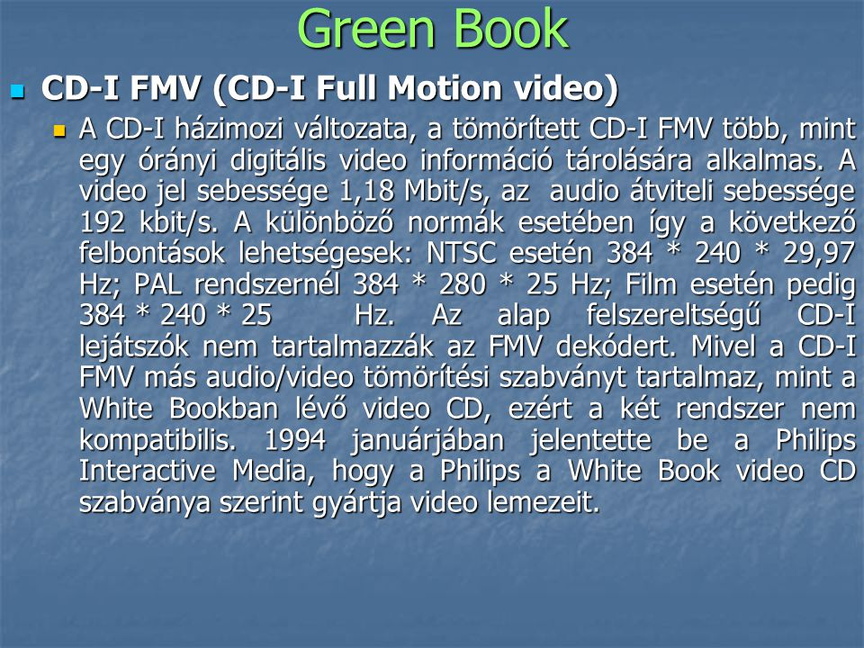 Green Book CD-I FMV (CD-I Full Motion video)