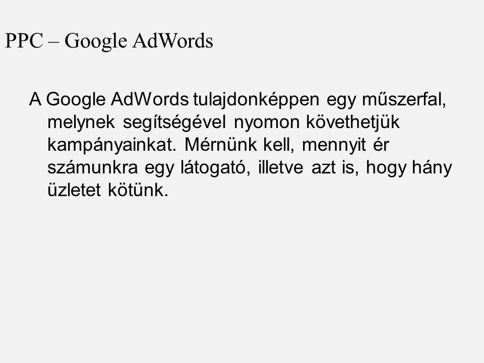 PPC – Google AdWords