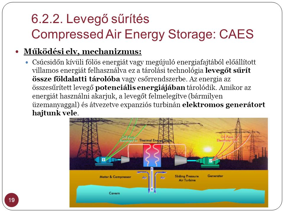 Levegő sűrítés Compressed Air Energy Storage: CAES