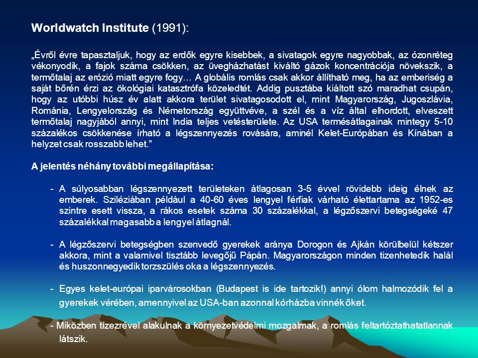 Worldwatch Institute (1991):