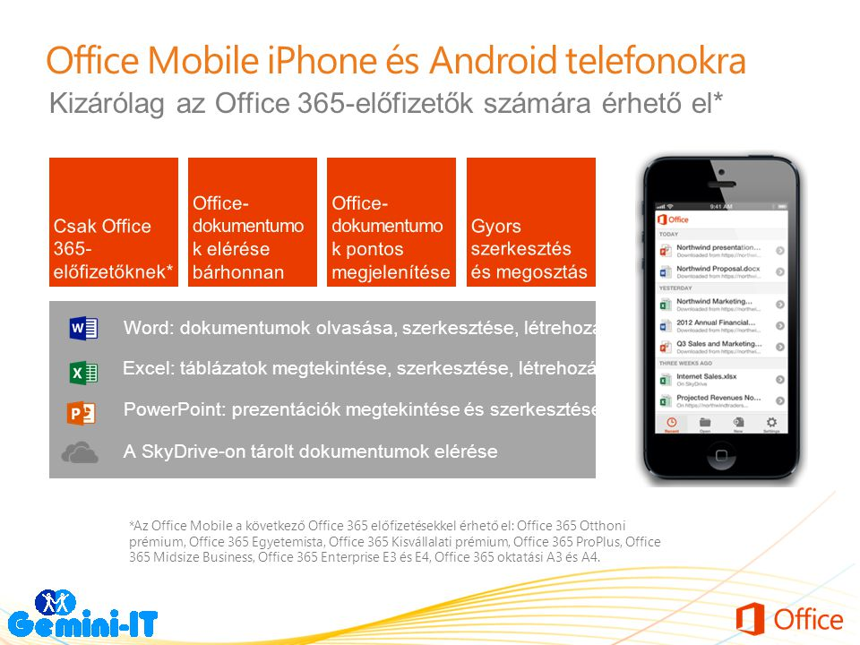 Office Mobile iPhone és Android telefonokra