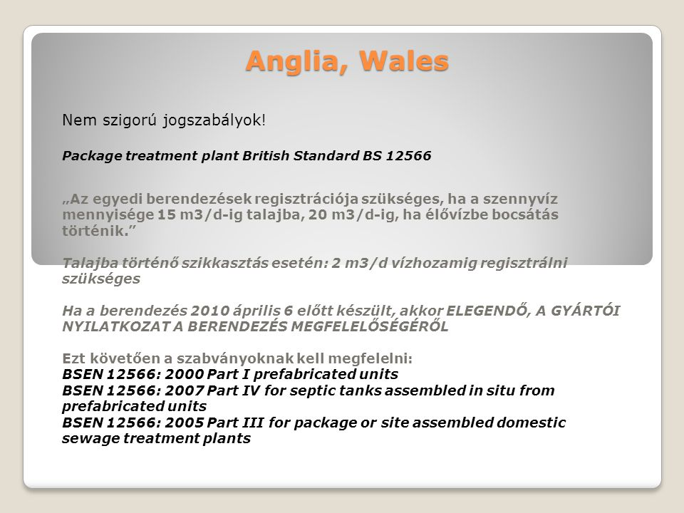 Anglia, Wales Package treatment plant British Standard BS 12566