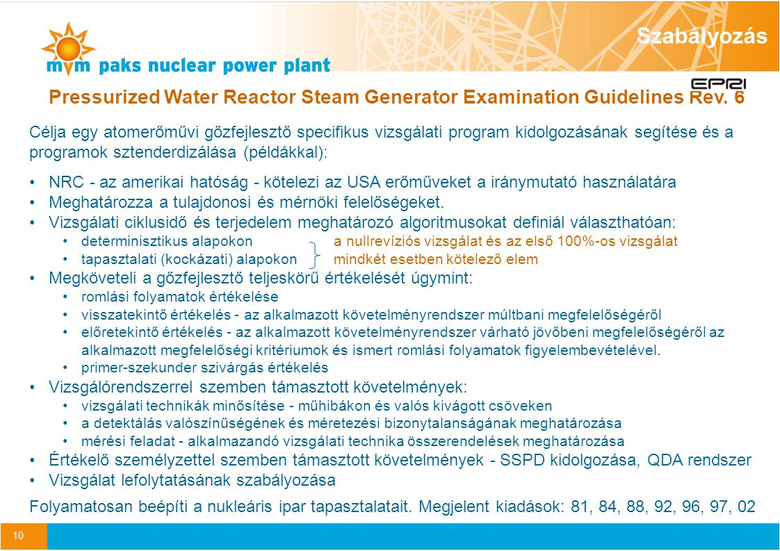 Szabályozás Pressurized Water Reactor Steam Generator Examination Guidelines Rev. 6.
