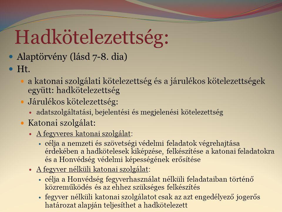 CCV. törvény 238. Magyar Honvédség hadrendje szerinti szervezet, valamint a Katonai Nemzetbiztonsági Szolgálat.