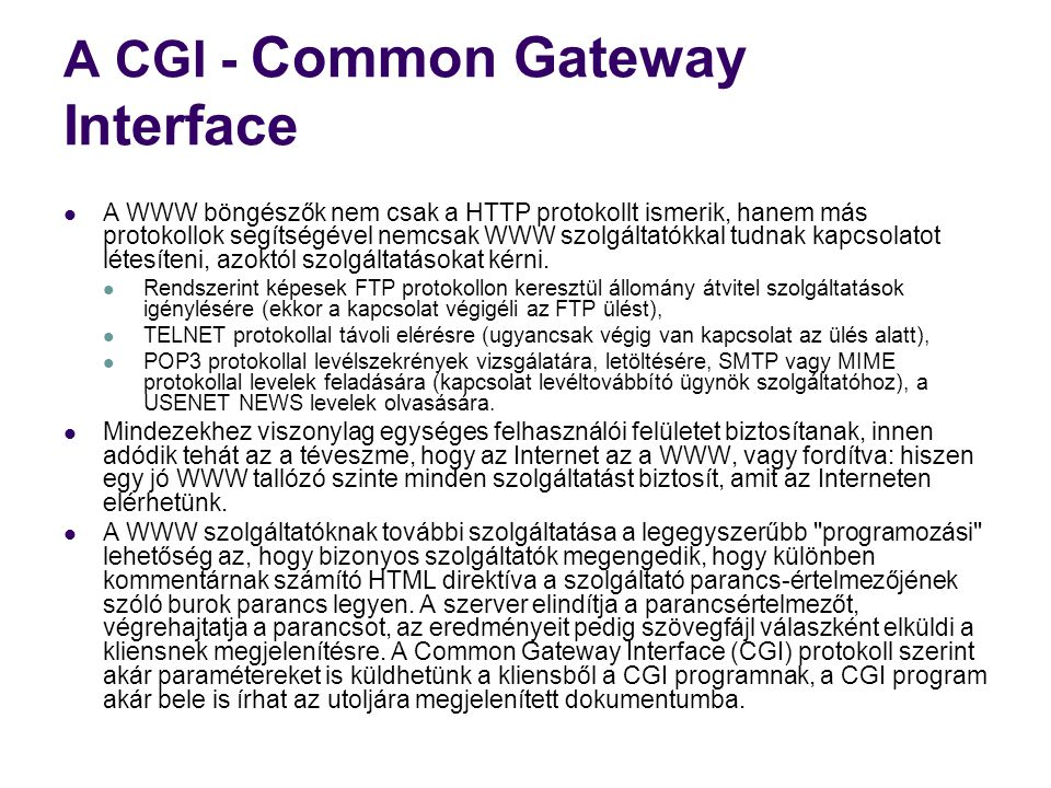 A CGI - Common Gateway Interface