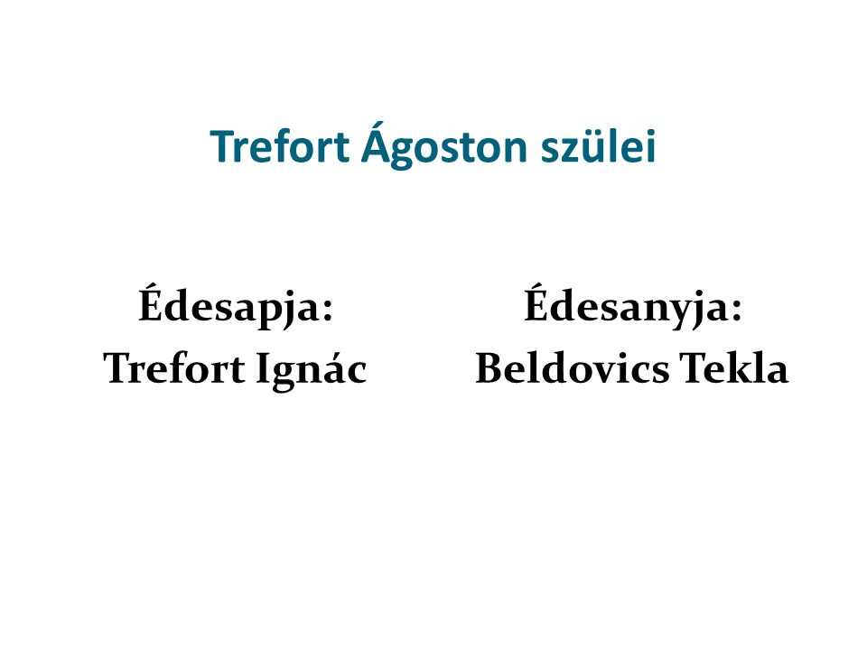 Trefort Ágoston szülei