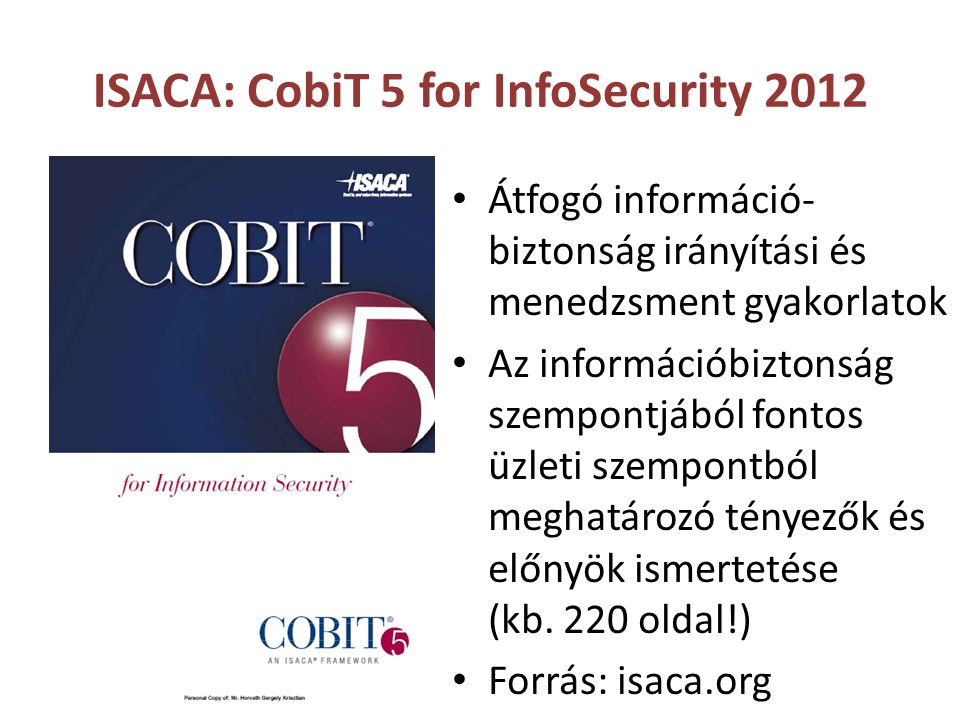 ISACA: CobiT 5 for InfoSecurity 2012