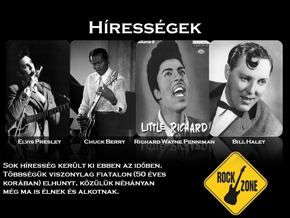 Hírességek Elvis Presley. Chuck Berry. Richard Wayne Penniman. Bill Haley.
