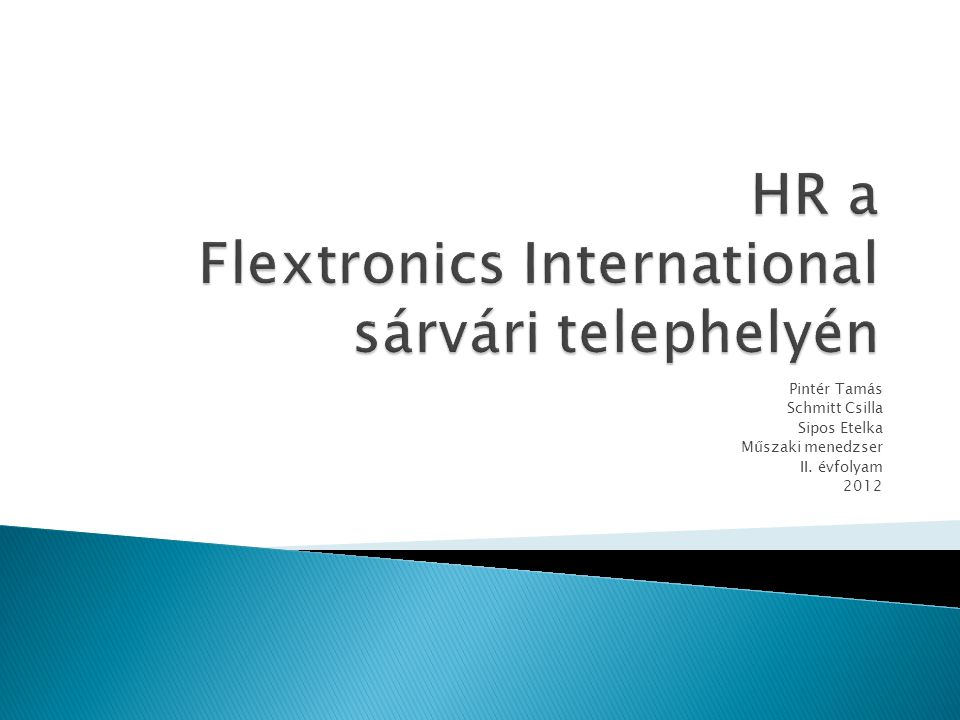 HR a Flextronics International sárvári telephelyén