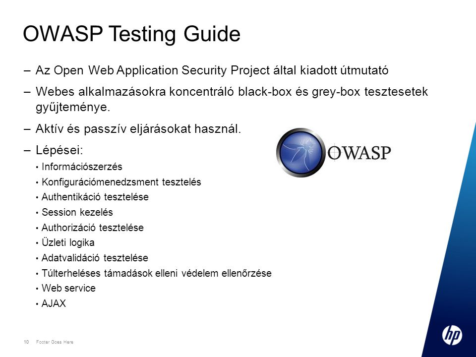 OWASP Testing Guide Az Open Web Application Security Project által kiadott útmutató.