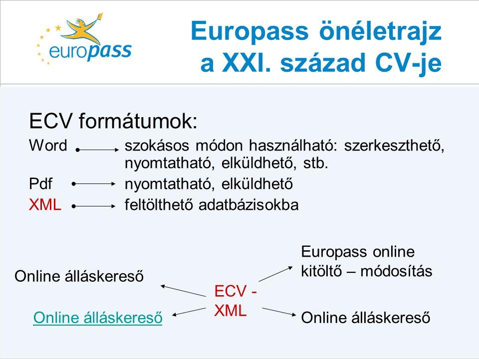europass önéletrajz letölthető Európai munkavállalás és az Europass dokumentumok az  europass önéletrajz letölthető