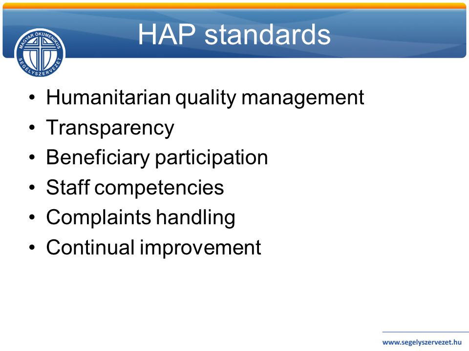 HAP standards Humanitarian quality management Transparency