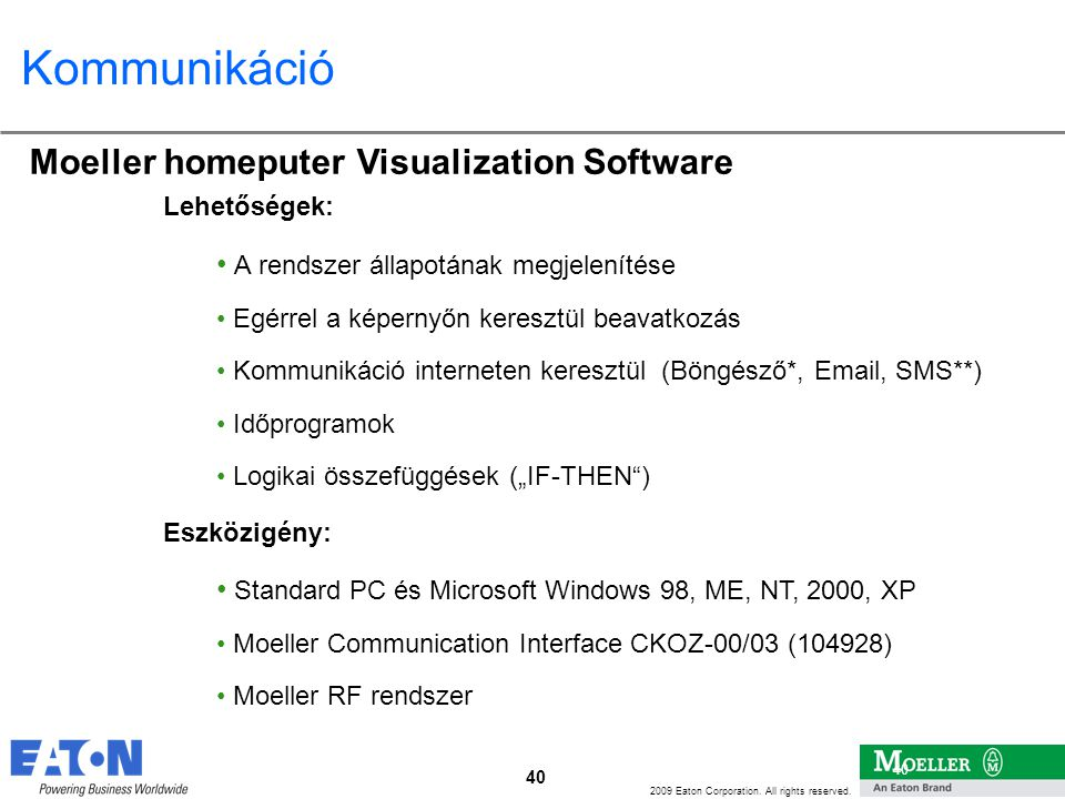 Kommunikáció Moeller homeputer Visualization Software