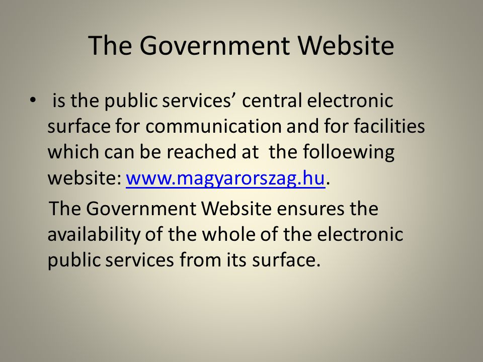 The Government Website