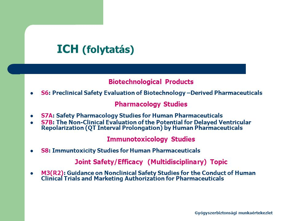 ICH (folytatás) Biotechnological Products Pharmacology Studies