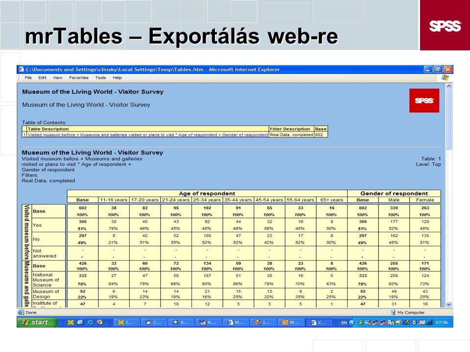 mrTables – Exportálás web-re