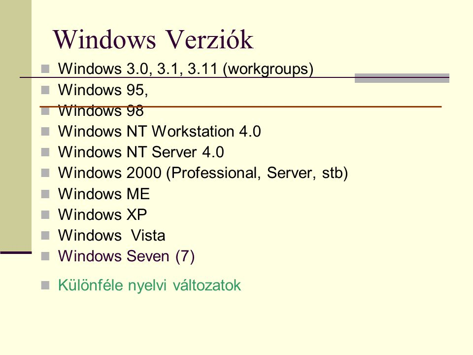 Windows Verziók Windows 3.0, 3.1, 3.11 (workgroups) Windows 95,
