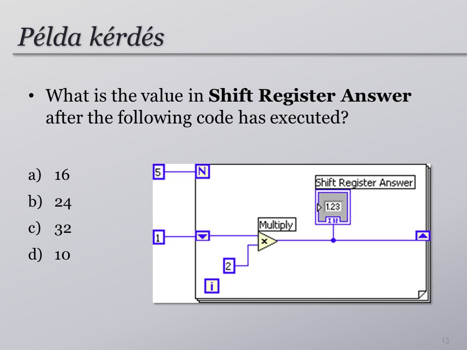 Példa kérdés What is the value in Shift Register Answer after the following code has executed 16.