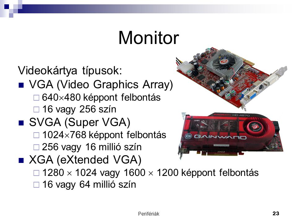 Monitor Videokártya típusok: VGA (Video Graphics Array)