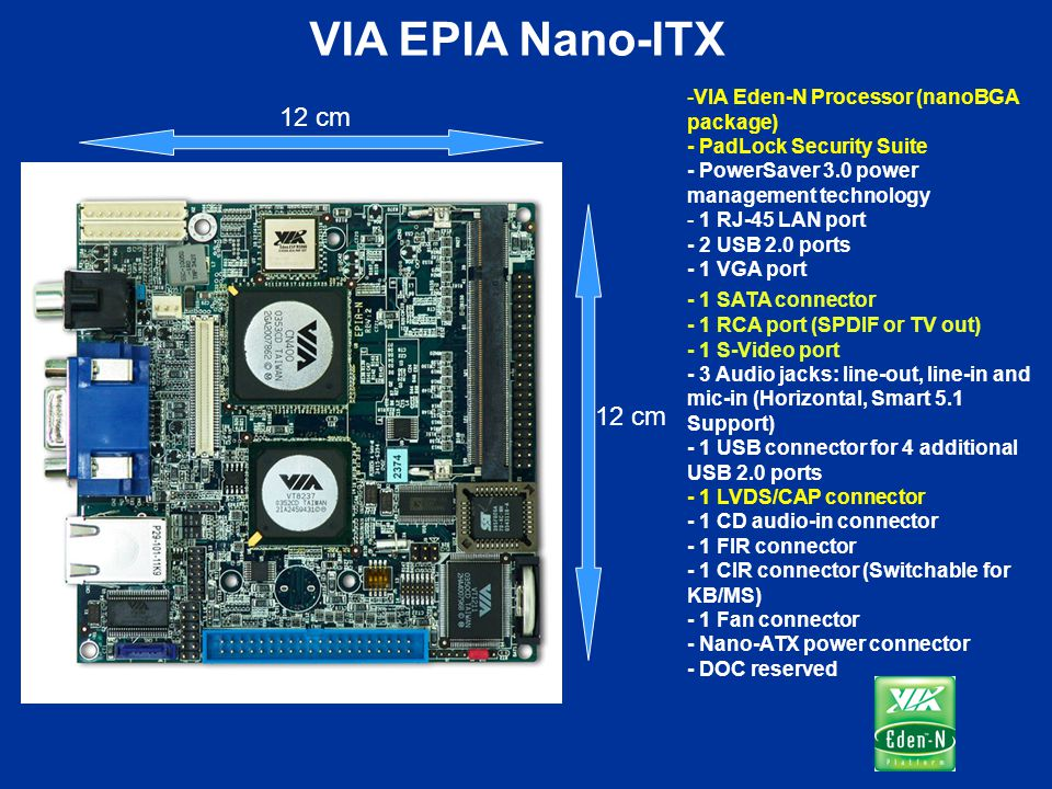VIA EPIA Nano-ITX VIA Eden-N Processor (nanoBGA package) - PadLock Security Suite - PowerSaver 3.0 power management technology.