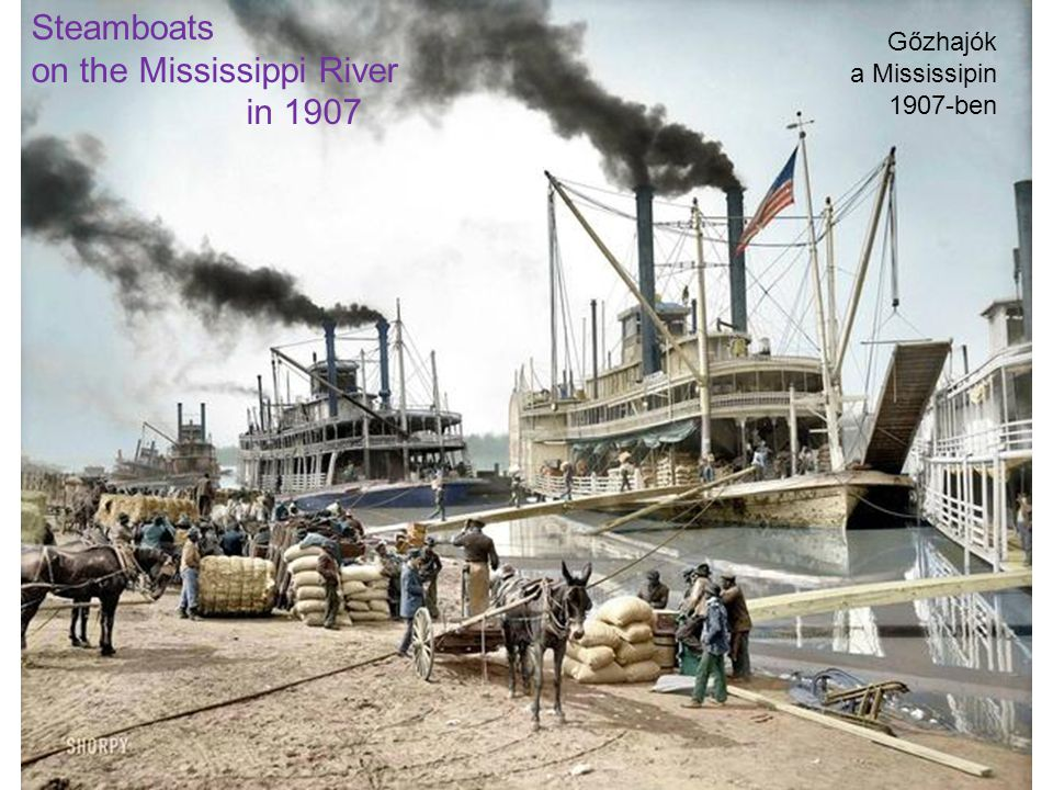 Steamboats on the Mississippi River in 1907