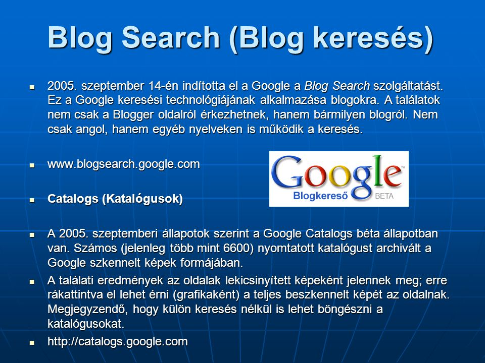Blog Search (Blog keresés)