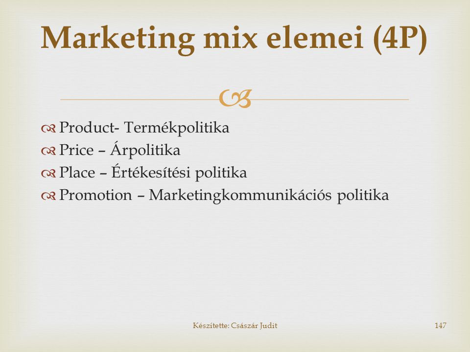 Marketing mix elemei (4P)