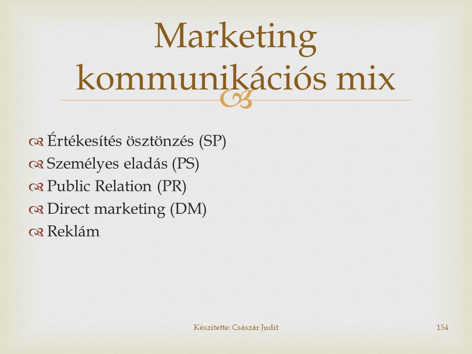 Marketing kommunikációs mix