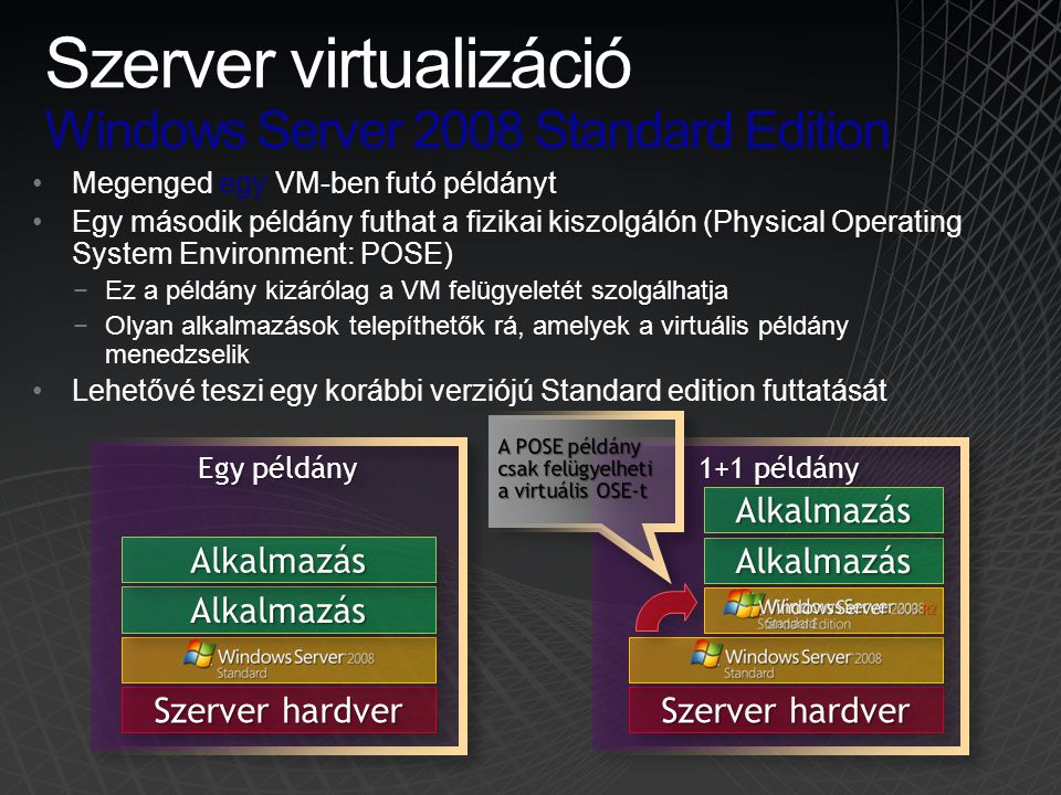 Szerver virtualizáció Windows Server 2008 Standard Edition