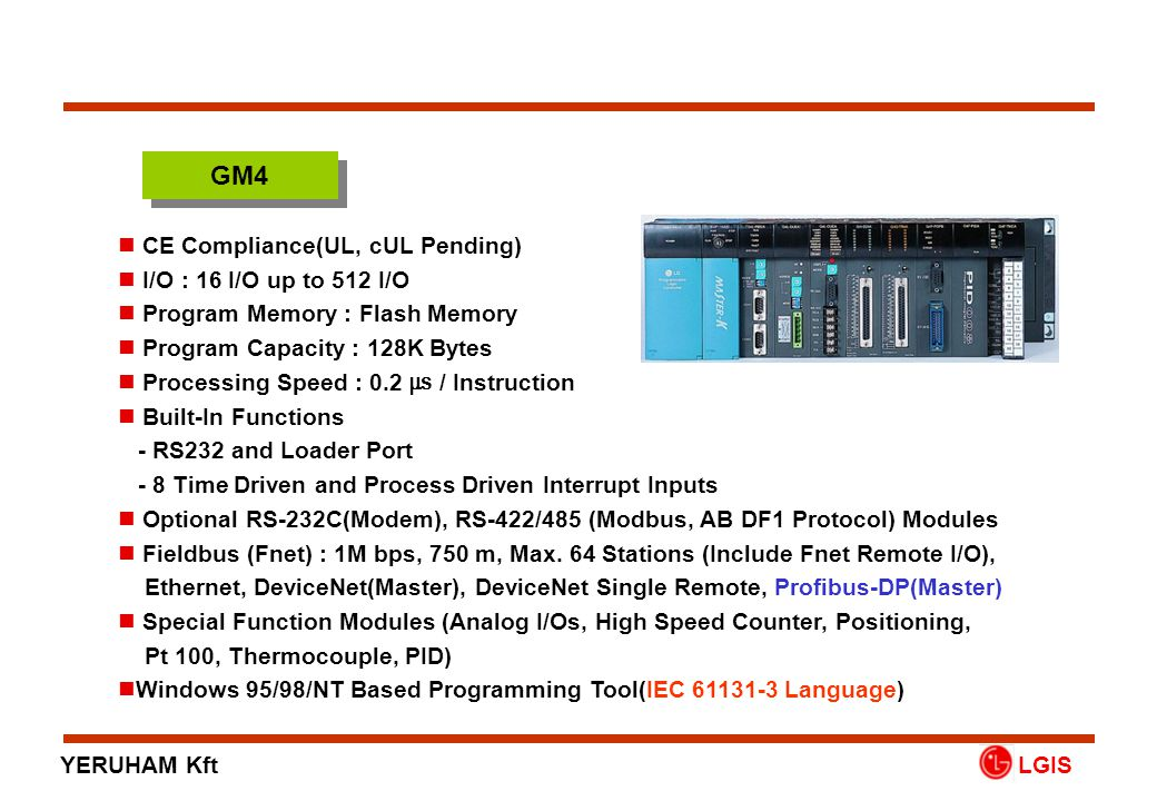GM4 CE Compliance(UL, cUL Pending) I/O : 16 I/O up to 512 I/O