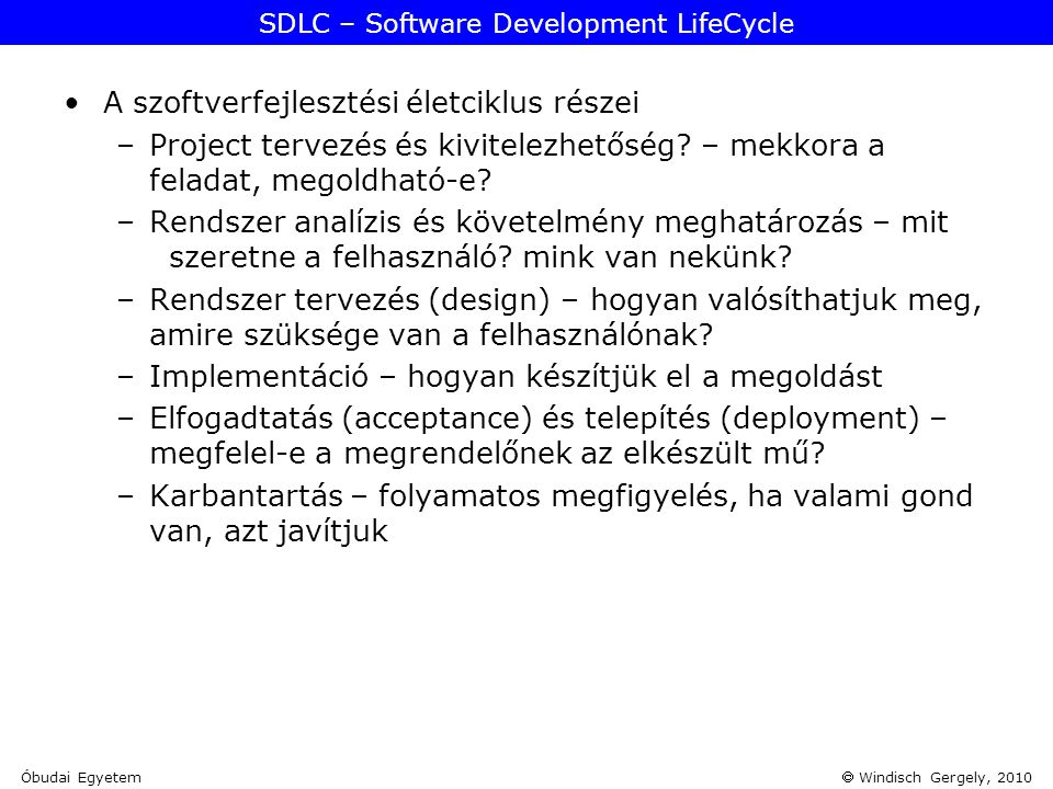 SDLC – Software Development LifeCycle